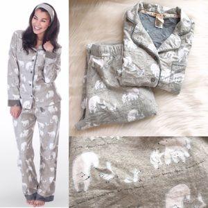 Munki munki bamboo flannel pajama set polar bears